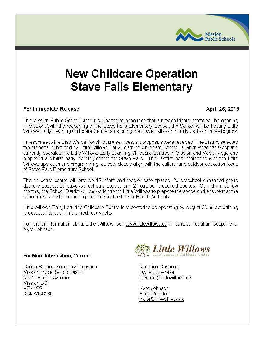 News Release - Stave Falls - Little Willows Early Learning Childcare Centre
